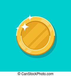 Gold coin vector icon. Flat cartoon golden metal money isolated on turquoise background.