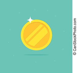Gold coin vector icon, flat cartoon golden metal money isolated on white background clipart