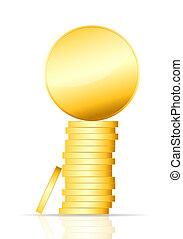 gold coin vector illustration on white