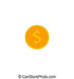 Gold coin White Background icon vector isolated.