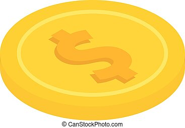 gold coin with a dollar sign, icon, vector illustration