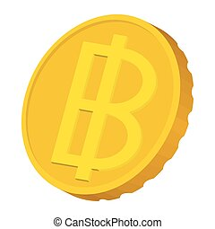 Gold coin with Baht sign icon, carton style