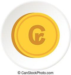 Gold coin with cruzeiro sign icon circle