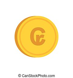 Gold coin with cruzeiro sign icon, flat style