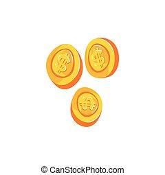 Gold coin with dollar sign cartoon vector illustration