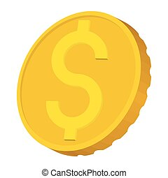 Gold coin with Dollar sign icon, cartoon style