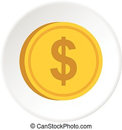 Gold coin with dollar sign icon circle