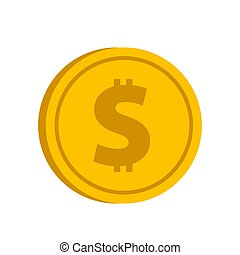 Gold coin with dollar sign icon in flat style on a white background vector illustration