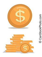 Gold coin with dollar sign vector illustration.
