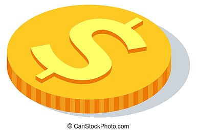 Gold coin with dollar sign. Vector illustration isolated American metallic money round shape