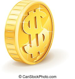 gold coin with dollar sign vector illustration isolated on ...