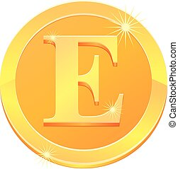 Gold coin with E letter design vector
