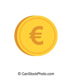 Gold coin with euro sign icon, flat style - icon in flat ...