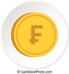 Gold coin with franc sign icon circle