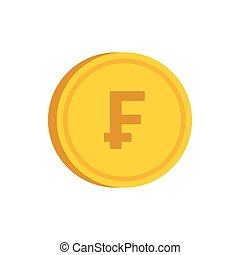 Gold coin with franc sign icon, flat style