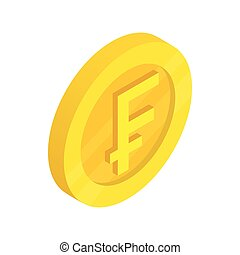 Gold coin with franc sign icon, isometric 3d style