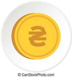 Gold coin with hryvnia sign icon circle