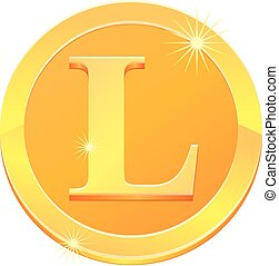 Gold coin with letter L design vector image