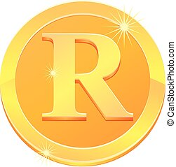 Gold coin with letter R vector icon