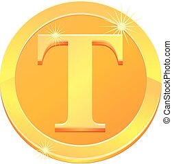Gold coin with letter T vector icon