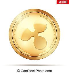 Gold coin with Ripple cryptocurrency sign.