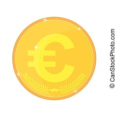 Gold coin with the euro symbol