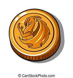 Gold coin with the image of a dragon on isolated white background. Vector illustration.