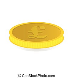 Gold coin with the image of the pound symbol