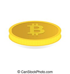 Gold coin with the symbol cryptocurrency Bitcoin