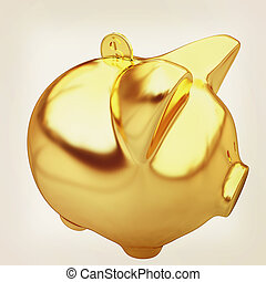 gold coin with with the gold piggy bank . 3D illustration. Vintage style.