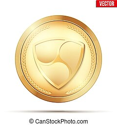 Gold coin with XEM cryptocurrency sign.