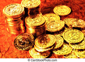Gold Coins With Lighting and Blur Effect.