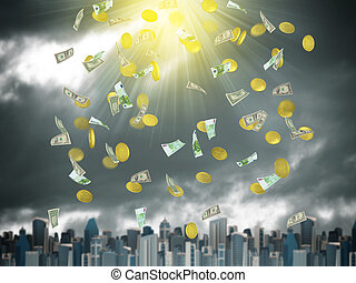 Gold coins and banknotes falling from the sky