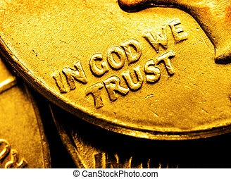 Gold Coins and Bullion In God We Tr - Pile of gold coins and...
