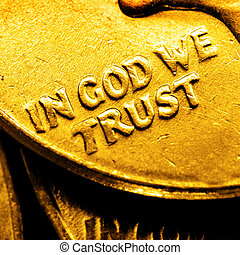 Gold Coins and Bullion In God We Trust - Pile of old coins...