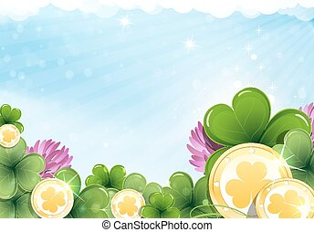 Gold coins and shamrock clover