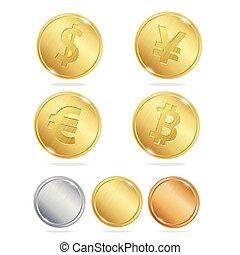 Gold Coins Dollar Euro Bitcoin Yuan Set. Vector