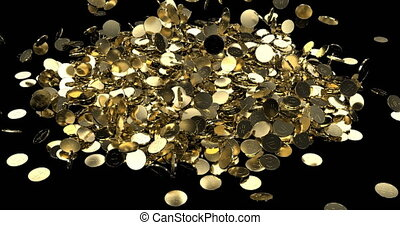 Gold coins dollars yen euro fall in a pile 4k