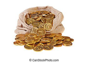 Gold coins fall out of a canvas bag