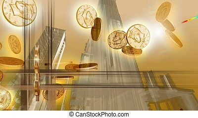 Gold coins falling from the sky with tall buildings in background