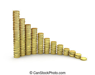 Gold coins graph on white background