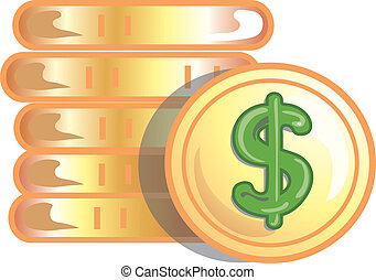 Gold coins icon or symbol