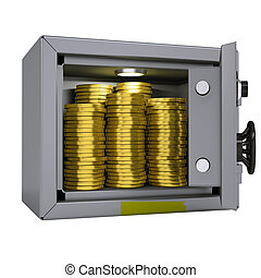 Gold coins in a safe
