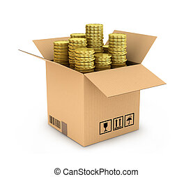 gold coins in stack in side cardboard box isolated