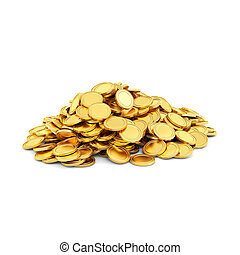 Gold coins isolated on a white background.