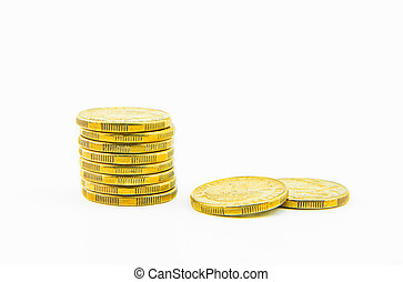 Gold Coins isolated on white