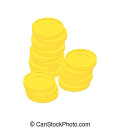 Gold coins isolated. Stack of money on white background.