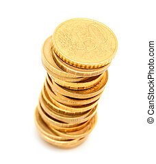 Gold coins on a white background.