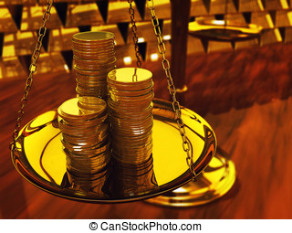 Gold coins on brass scale and gold ingots ,3d illustration