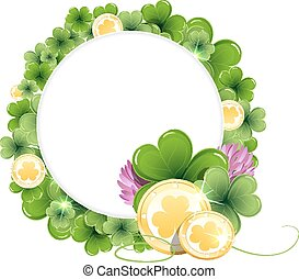 Gold coins on clover background